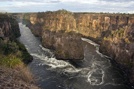 The Zambezi River gorges near Victoria Falls in Zimbabwe  Looking across the river into Zambia