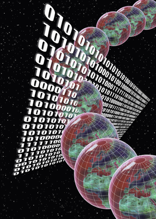 0 geography: Globes passing through binary numbers in space Stock Photo