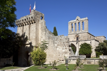 abbaye: The Gothic monastery at Bellapais - Abbaye de la Paix - in the Turkish Republic of Northern Cyprus  Stock Photo