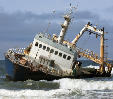 beached: A shipwreck on the Skeleton Coast in Namibia