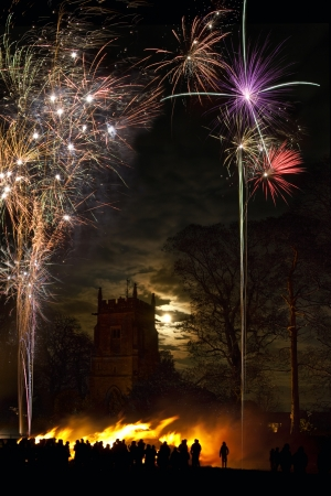 Bonfire and firework display to celebrate November the 5th Stock Photo