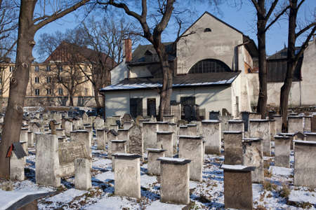 remuh: The old Jewish Remuh Synagogue and graveyard in Krakow in Poland