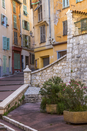 d���azur: A street in the city of Nice on the Cote d Azur in the South of France