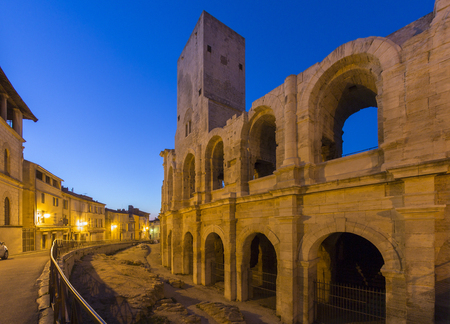 The Roman Amphitheater in the old town of Arles in Provence in the South of France