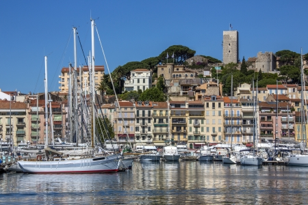 The harbor in Cannes old town on the Cote d Azure in the South of France