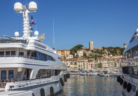 d���azur: Luxury yachts in the harbor in Cannes old town on the Cote d Azur in the South of France