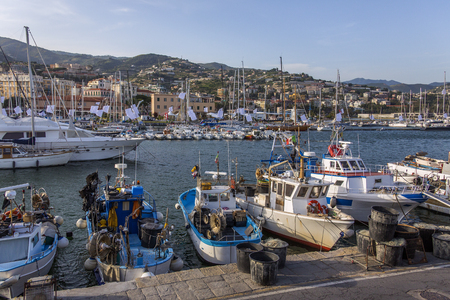 sanremo: The harbor in the Mediterranean resort of San Remo  Sanremo  on the north west coast of Italy  Stock Photo