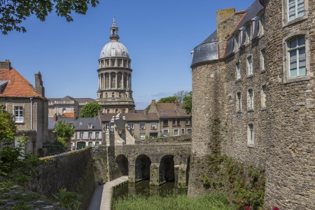 The Basilique Notre-Dame viewed from the 13th century Boulogne Chateau in the coastal town of Boulogne-sur-Mer in the Nord Pas-de-Calais region of France