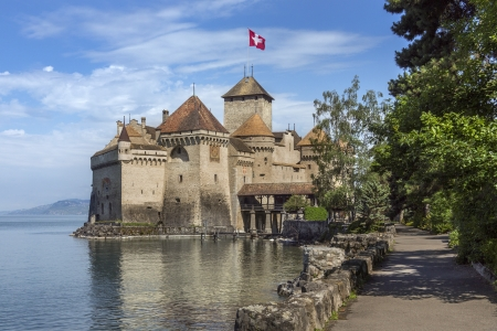 The medieval castle of Chateau de Chillon on the north shore of Lake Geneva in Switzerland