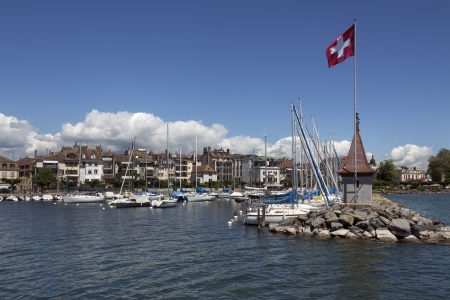 The harbor in the town of Morges on the north shore of Lake Geneva in the Vaud canton of Switzerland