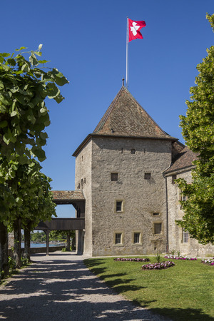 Rolle Castle on the north shore of Lake Geneva in the canton of Vaud in Switzerland