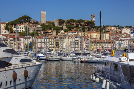 The harbor in Cannes old town on the Cote d Azur in the South of France photo