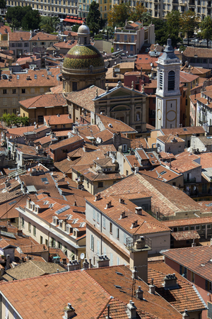 azur: Rooftops of the city of Nice on the Cote d Azur in the South of France Stock Photo