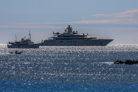 Luxury yachts near St Tropez on the Frech Riviera in the South of France photo