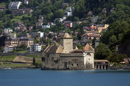 chillon: The medieval castle of Chateau de Chillon on the north shore of Lake Geneva in Switzerland  Parts of the castle date from 1005AD