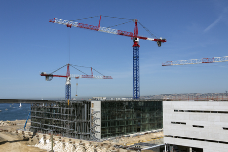steelwork: Cranes on a large construction site  Marseille in the South of France