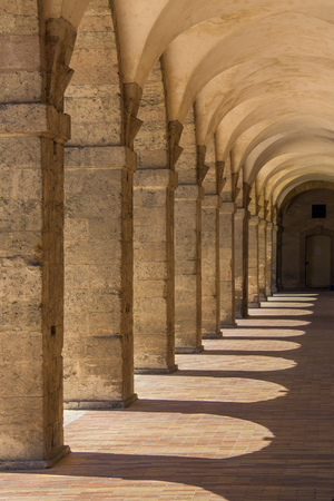 archways: A row of archways in the city of Salamanca in central Spain
