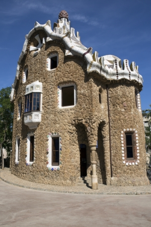 anton: Building designed by Anton Guadi in Parc Guell in Barcelona in the Catalonia region of Spain  The park covers 20 hectares  50 acres  and was opened in 1922
