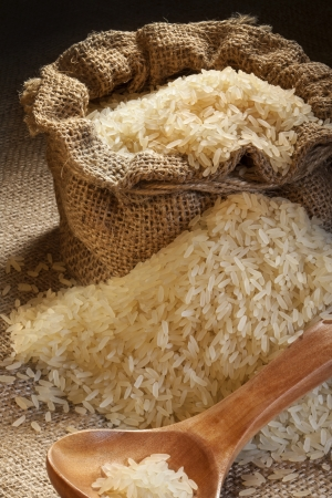 staple food: A small sack of rice   Rice is the most important staple food for a large part of the world Stock Photo