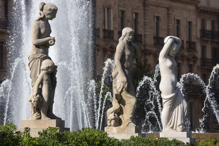 catalunya: The fountains in Placa Catalunya in the city of Barcelona in the Catalonia region of Spain  Stock Photo