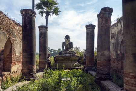 Ancient temple ruins in the Royal City of Innwa  Ava  in Myanmar