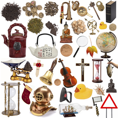 A selection of objects for cutout - Isolated on white background  photo