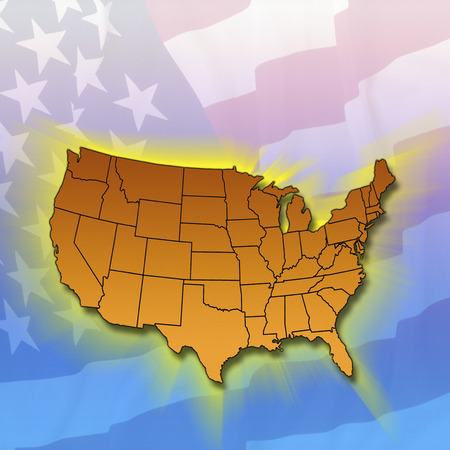 mainland: Outline diagram of the mainland states of the United States of America Stock Photo