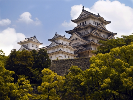 prototypical: Himeji Castle is a hilltop Japanese castle complex located in Himeji, in Japan  The castle is regarded as the finest surviving example of prototypical Japanese castle architecture, comprising a network of 83 buildings with advanced defensive systems from