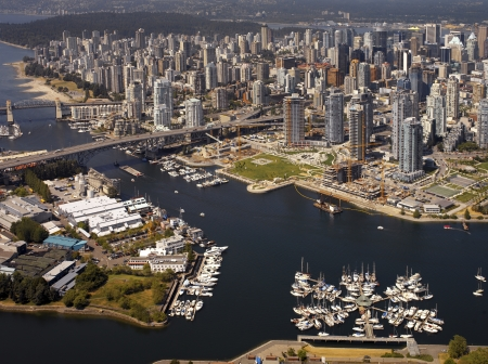 Aerial view of Granville Harbor and bridge in False Creek  Burrard Bridge and the city of Vancouver in British Columbia  Western Canada
