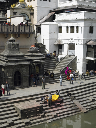 Pashupatinath Hindu Cremation Ghats in the city of Kathmandu in Nepal. Editorial