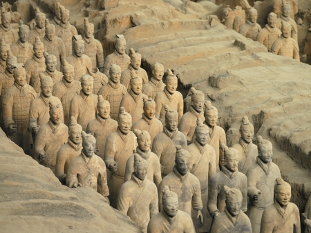 qin: The Terracotta Army near the city of Xian in Shaanxi province in the Peoples Republic of China. The Terracotta Army is a collection of terracotta sculptures depicting the armies of Qin Shi Huang, the first Emperor of China. The figures, dating from 3rd c