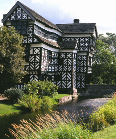 Little Moreton Hall is a moated 15th and 16th-century half-timbered manor house near Congleton in Cheshire, England. The earliest parts of the house were built for the Cheshire landowner William Moreton around 1504–8. Now a museum.