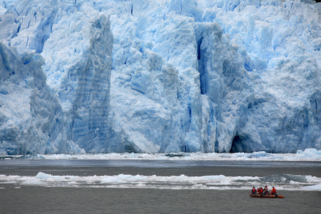san rafael: Adventure Tourism  Tourists in a zodiac view the terminus of the San Rafael Glacier in Patagonia in southern Chile in South America