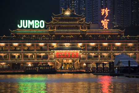 The famous Jumbo Floating Restaurant in Aberdeen Harbor in Hong Kong.