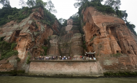 The Dafo of Leshan near Chengdu in southwest China. The Dafo is a 71m high stone Buddha carved into Lingyun Hill on the banks of the Qingyi River. A UNESCO World Heritage Site.
