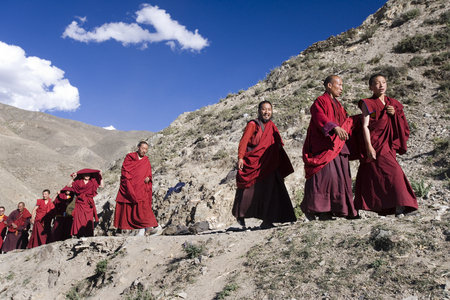 A group of Buddhist Monks near the Yumbu Lagang Monastery in Tibet, China.