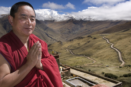 gelugpa: Tibetan monk at Ganden Monastery in Tibet. Ganden is the one of the most important Gelugpa monasteries and is high in the Himalayas at an altitude of 4500m (14,760ft).