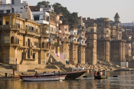 The Hindu ghats on the banks of the Holy River Ganges (Ganga) in Varanasi (Benares) in the Uttar Pradesh region of northern India.