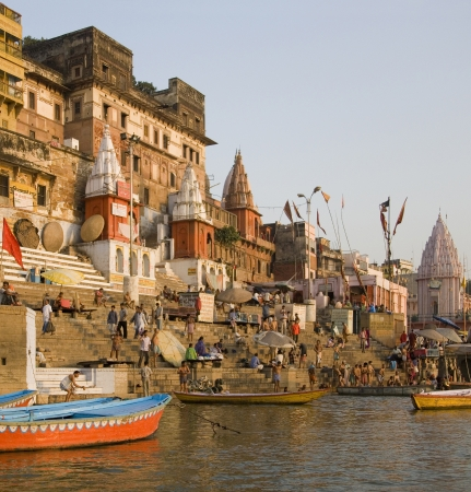 Hindu Ghats on the banks of the Holy River Ganges (Ganga) in Varanasi (Benares) in the Uttar Pradesh region of northern India.