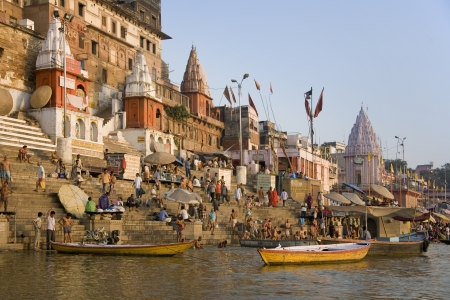 The Hindu Ghats on the banks of the Holy River Ganges (Ganga) in the city of Varanasi (Benares) in the Uttar Pradesh region of India.