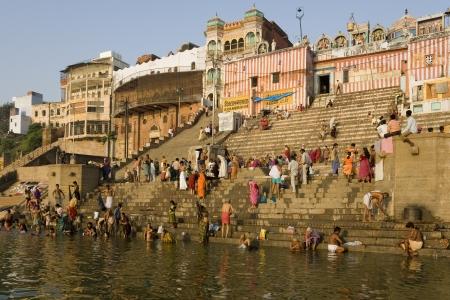 ghat: The Hindu ghats on the banks of the Holy River Ganges (Ganga) in Varanasi (Benares) in the Uttar Pradesh region of northern India. Editorial