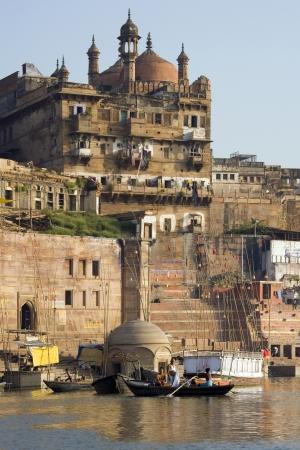 The Hindu ghats on the banks of the Holy River Ganges (Ganga) in Varanasi (Benares) in the Uttar Pradesh region of northern India.