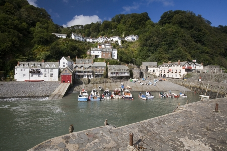 lifeboat station: Picturesque fishing village of Clovelly on the north coast of Devon in the United Kingdom.