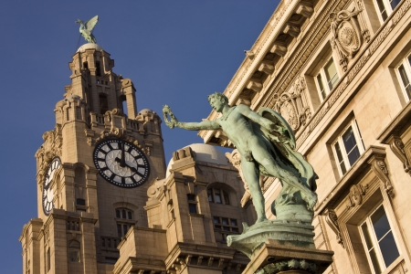 The Liver Building in the city of Liverpool in northwest England