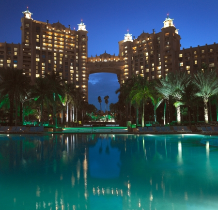 The luxury vacation resort of Atlantis on Paradise Island in the Bahamas.  Editorial