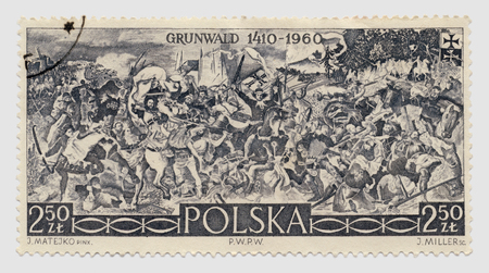 postes: Polish Postage Stamp commemorating the Battle of Grunwald in 1410 Editorial