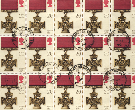 cross armed: Victoria Cross Medal on a set of British Postage Stamps, The Victoria Cross is a decoration awarded for conspicuous bravery in the British Commonwealth armed services, instituted by Queen Victoria in 1856.