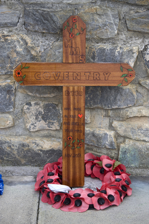 falklands war: A simple cross in memory of HMS Coventry laid at the Falklands War Memorial in Port Stanley in The Falkland Islands