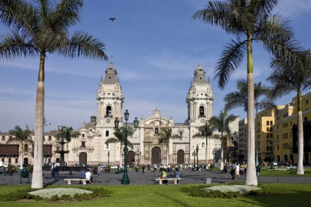 Lima Cathedral and the Bishops Palace in the Plaza de Armes in central Lima, Peru.