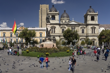 Plaza Murillo with Presidential Palace & Cathedral in La Paz (3687m) in Bolivia